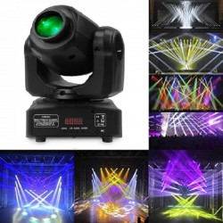 LED Moving Head Spot 10w BOSTON White + 7 Colors - 7 Fixed Gobos