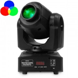 LED Moving Head Spot 10w BOSTON Weiß + 7 Farben - 7 feste Gobos - DMX