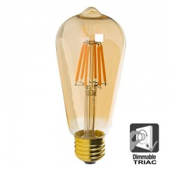 7W LED Bulb Filament Vintage E27 Gold ST64 - Dimmable