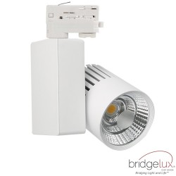 Faretto LED 40W GRAZ Bianco BRIDGELUX Chip  per binario TRIFASE 100º CRI +90