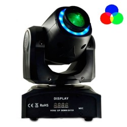 Moving Head Spot LED 30w BOSTON   Weiß + 7 Farben - 7 feste Gobos - DMX