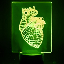 3D RGB bordlampe - HEART -