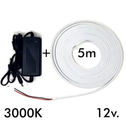 Pack striscia Neon 3000K LED 6mm 12V + Alimentatore