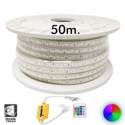 50 m spole. LED Strip 13W dæmpbar 220V AC SMD 5050 60 LED'er / m RGB IP65 - 15mm