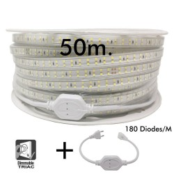 50 m spole. DOBBELT LED Strip 15W kan dæmpes 220V AC SMD 2835180 LED / m IP65 - 15mm