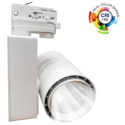 Spot LED BERLIN Blanc pour rail  Triphasé  40W - 24°  CRI +90
