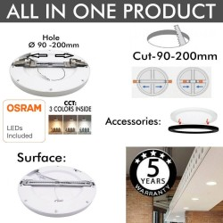 Placa LED Circular Downlight 18W AJUSTABLE COLOR SELECCIONABLE - CCT - MOSS