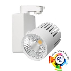 Spot LED GRAZ Blanc BRIDGELUX Chip pour rail Monophasé 40W - 100°  CRI +90