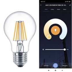Ampoule LED 7W SMART Wifi RGB+CCT Filament - A60 Dimmable - E27