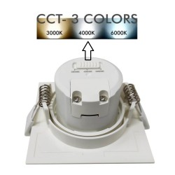 Downlight LED - 7W -  Square Blanc - CCT