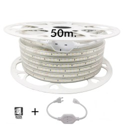50 m spole. LED Strip 10W kan dæmpes 220V AC SMD 2835120 LED / m IP65 - 13mm