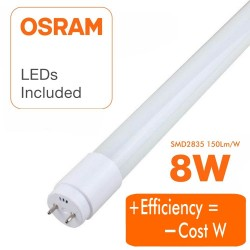Tube LED 8W Cristal 300° - 60cm - LUMINOSITÉ ÉLEVÉE - OSRAM CHIP