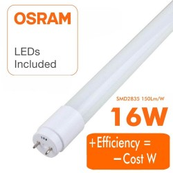 16W LED Tube Glass  300º  120cm - 130Lm/W - HIGH LUMINOSITY - OSRAM CHIP