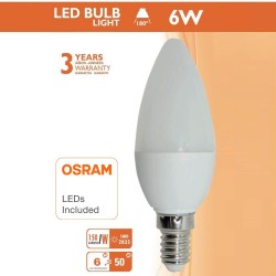 Ampoule LED Bougie 6W E14 C37 180º - OSRAM Chip