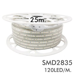 Spole 25m. Dimbar LED-strip 220V AC - 120LED/m -SMD2835 - IP65 - Skåret 100cm