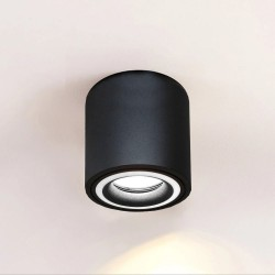 Aplique Techo LED Negro Aluminio - Doble Aro - para GU10 LED