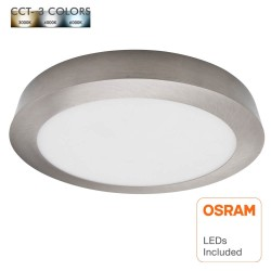 20W LED Ceiling Light - Circular Stainless Steel - CCT - OSRAM CHIP DURIS E 2835