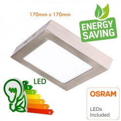 15W LED Ceiling Light - Square Stainless Steel - CCT - OSRAM CHIP DURIS E 2835