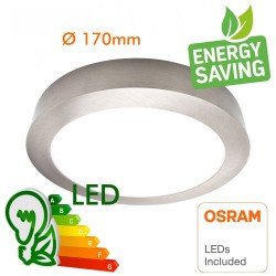 15W  Circular surface LED ceiling light Stainless Steel - CCT