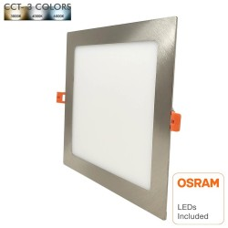 Faretto LED 15W Slim Downlight  Quadrato Acciaio Inoss. - CCT- OSRAM CHIP DURIS E 2835