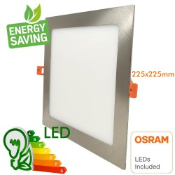 Faretto LED 20W Slim Downlight  Quadrato Acciaio Inoss. - CCT- OSRAM CHIP DURIS E 2835