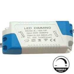 Driver DIMMABLE for LED Lightings 8W a 18W - 300mA - TRIAC
